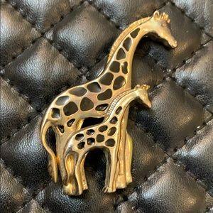 Vintage TC Gold Enamel Animal Brooch